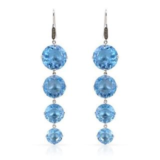 YOURS BY LOREN Earrings with 87.85ct TW Diamonds and Topazes 925 Sterling Silver