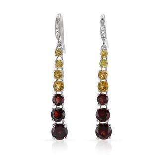 Yours by Loren Earrings with 8.38ct TW Citrines, Garnets, Sapphires and Topazes in 925 Sterl