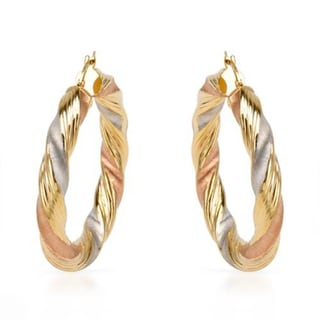 Italy Hoops Earrings in 14K Three Tone Gold