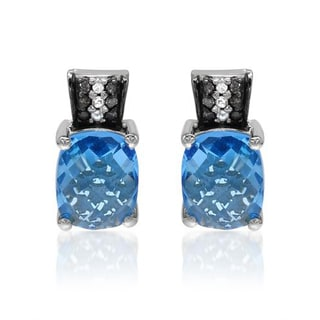 Krementz Earrings with 7.15ct TW Diamonds and Topazes in 925 Sterling Silver