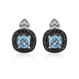 Krementz Earrings with 1 3/4ct TW Diamonds and Topazes of 925 Sterling Silver
