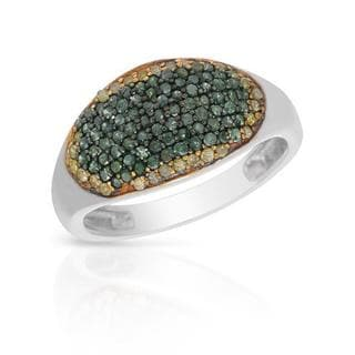 Ring with 0.55ct TW Natural Fancy Light Yellow Diamonds in .925 Sterling Silver