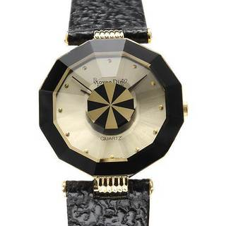Women's Roven Dino Brand Black Leather Watch