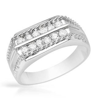 Men's Band Ring with 0.51ct TW Diamonds in 14K White Gold