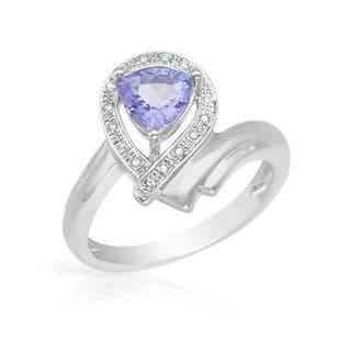 Ring with 0.9ct TW Diamonds and Tanzanite 925 Sterling Silver