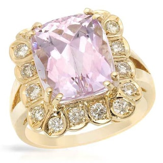 Cocktail Ring with 8.05ct TW Diamonds and Kunzite in 14K White Gold