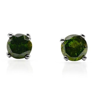 Stud Earrings with Genuine Diamonds 925 Sterling Silver