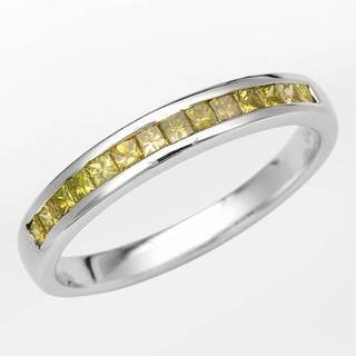 Channel Ring with Princess Cut Diamonds in White Gold