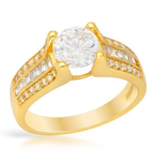Clear Cubic Zirconia in 18K/925 Gold-plated Silver Ring