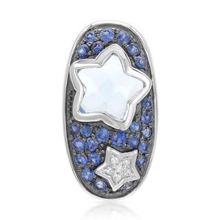 Pendant with 1.13ct TW Diamonds, Sapphires and Topaz in White Gold