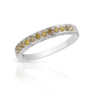 Ring with Yellow Enhanced Diamonds White Gold