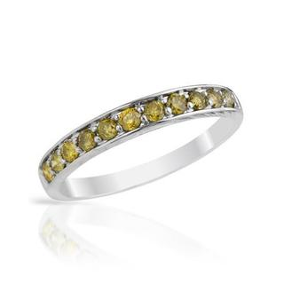 Channel Ring with Green Enhanced Diamonds White Gold