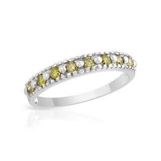 Ring with Genuine Yellow Enhanced Diamonds White Gold