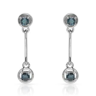 10K White Gold 0.51ct TDW Intense Blue Enhanced Diamond Earrings (I1 - I2)