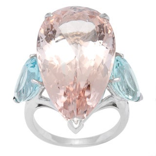 18k White Gold Christian Dior Ring with 28.65ct TGW Aquamarines and Morganite