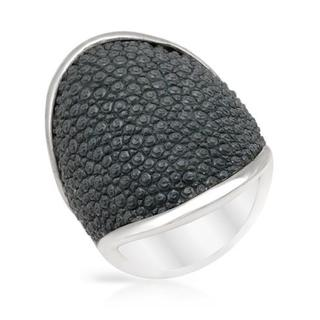 Adami & Martucci Ring in Grey Leather/ 925 Sterling Silver