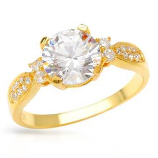 Ring with 4ct TW Cubic Zirconia Crafted in 18K/925 Gold-plated Silver