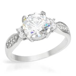 Ring with 4ct TW Cubic Zirconia in Platinum coated Sterling Silver