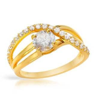 18k Gold-plated Silver 1.9 TGW CZ Ring