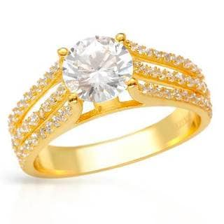 18k Gold-plated Silver 3.4 TGW Cubic Zirconia Ring