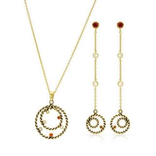 14k Yellow Gold-plated Silver Cubic Zirconia Earrings and Necklace