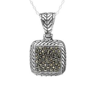 Sterling Silver Marcasites Square Necklace