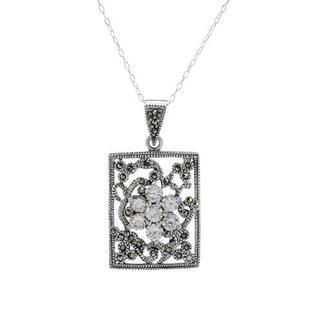 Necklace with Cubic Zirconia/ Marcasites .925 Silver