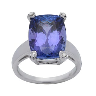 Cocktail Ring with 9.14ct TW Genuine Diamonds and Tanzanite in 14K White Gold