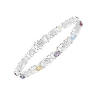 Bracelet with 4.73ct TW Amethysts, Citrines, Garnets, Iolites, Topazes Crafted in 925 Sterli