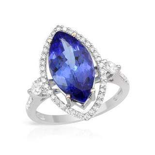Cocktail Ring with 4.68ct TW Genuine Diamonds and Tanzanite in 18K White Gold