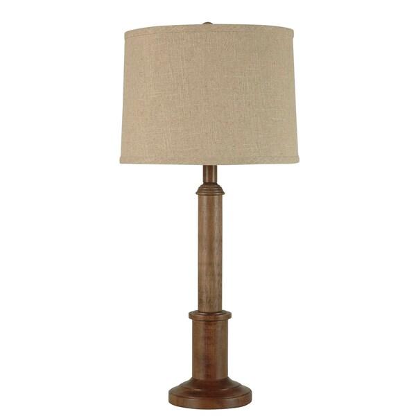 Illuminada 3-way Wood Table Lamp and Natural Linen Hardback Shade