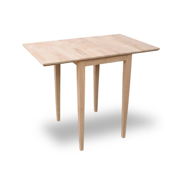 Small Unfinished Rectangular Drop Leaf Shaker Style Dining Table