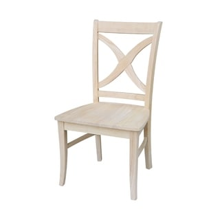 Unfinished Solid Parawood Vineyard Curved X-back Chair (Set of 2)