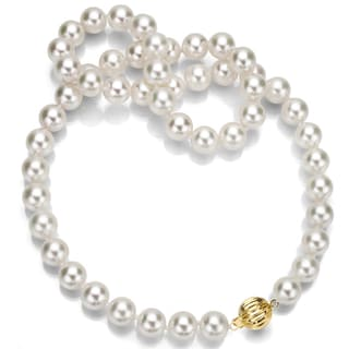 DaVonna 14k Yellow Gold White South Sea Pearl Strand Necklace (8-10 mm)