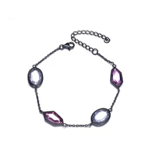 Collette Z Black-plated Sterling Silver White and Pink Cubic Zirconia Chain Bracelet.