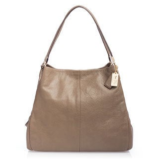 Coach 'Madison' Small Light Gold Leather Phoebe Shoulder Bag