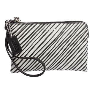 Coach 'Bleecker' Small Black and White Striped Wristlet