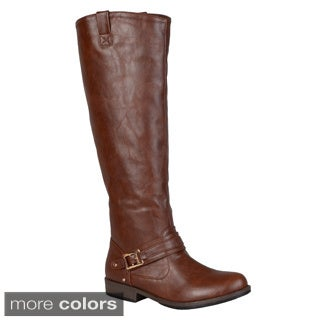 Journee Collection Women's 'Kai' Round Toe Buckle Detail Boots