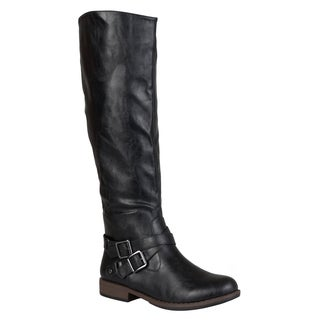 Journee Collection Women's 'April' Round Toe Buckle Detail Boots