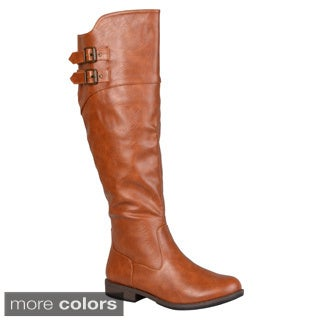 Journee Collection Women's 'Tori' Double-buckle Knee-high Riding Boot