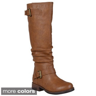 Journee Collection Women's 'Stormy' Slouchy Buckle Detail Boots