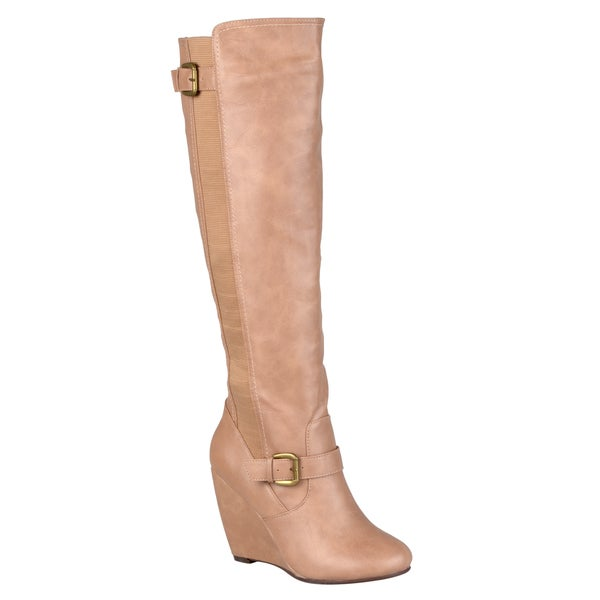 Journee Collection Women's 'Skye' Knee-High Buckle-Strap Wedge Dress Boots