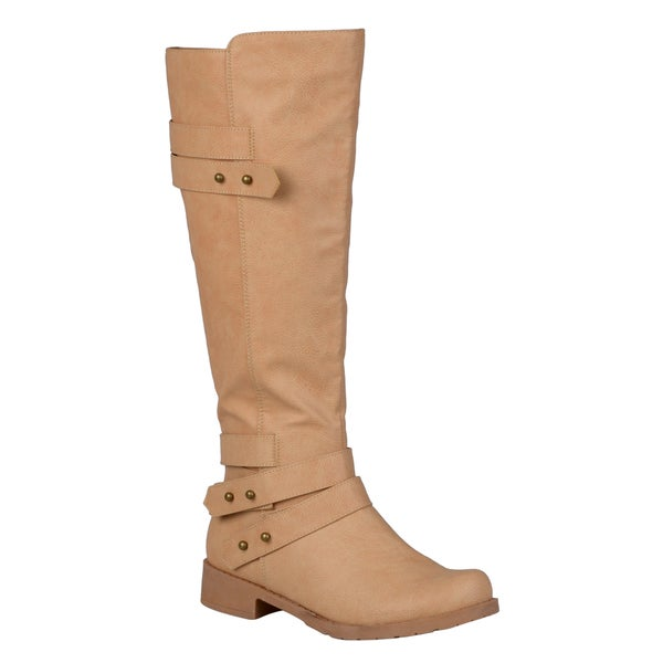 Journee Collection Women's 'Lark' Regular and Wide-calf Button Detail Ankle-strap Knee-high Riding Boot