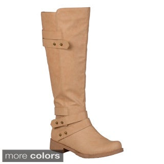 Journee Collection Women's 'Lark' Button Detail Ankle-strap Knee-high Riding Boot