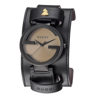 Gucci Men's YA133202 'Grammy XL Interlocking' Yellow Dial Black Leather Strap Special Edition Watch