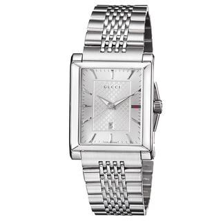 Gucci Men's YA138403 'Timeless' Silver Dial Stainless Steel Bracelet Quartz Watch
