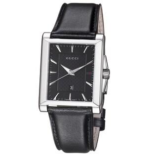 Gucci Men's YA138404 'Timeless' Black Dial Black Leather Strap Quartz Watch