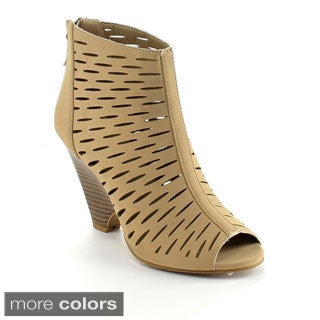 Bumper Women's 'France-01' Perforated Wedge Ankle Boots