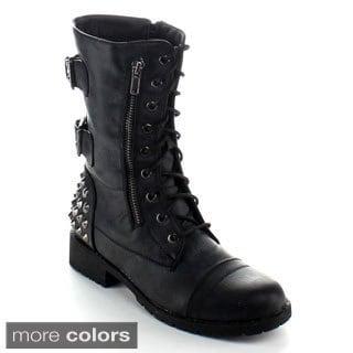 Nature Breeze Women's 'Harley-12' Spiked-heel Mid-calf Boots