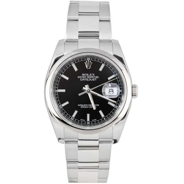 Pre-Owned Rolex Men's Datejust New Style Stainless Steel Oyster Band Black Index Dial Watch